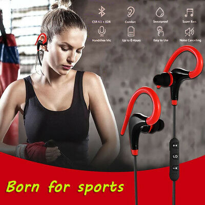Bluetooth Wireless Headset Stereo Headphone Sport Hook Earphone Mic Universal