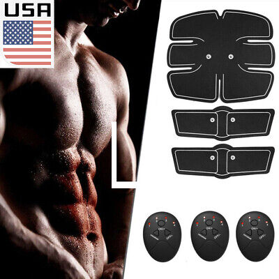 US 4 In 1 USB Rechargeable Fitness Abdominal Muscle Trainer ABS Stimulator Toner