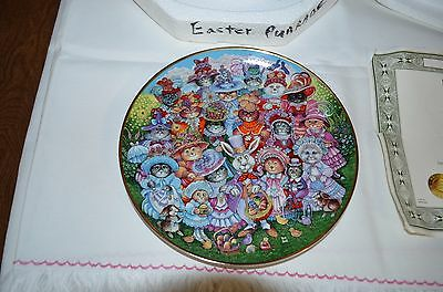 """Franklin Mint Cat Plate """"Easter Purrade"""" By Bill Bell"""