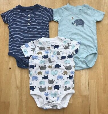 Lot Baby Boys 6 Months Carters Blue Elephant Striped Henley Bodysuits Shirts