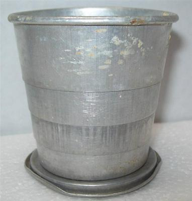 """Vintage Aluminum Cup Metal Travel Collapsible   Mid-Century Hiking No Lid 2.5"""" T"""