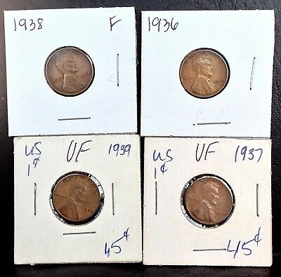 Lot of 4  1936, 1937, 1938 & 1939  1c Lincoln wheat Cents
