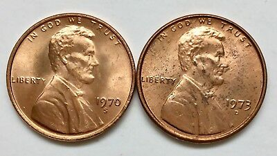 Lot of 2 UNCIRCULATED 1970-S & 1973-D 1c Lincoln Memorial RED cents