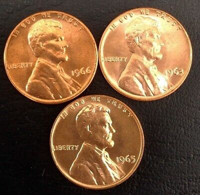 Lot of 3 UNCIRCULATED 1963, 1965 & 1966 1c Lincoln Memorial RED cents