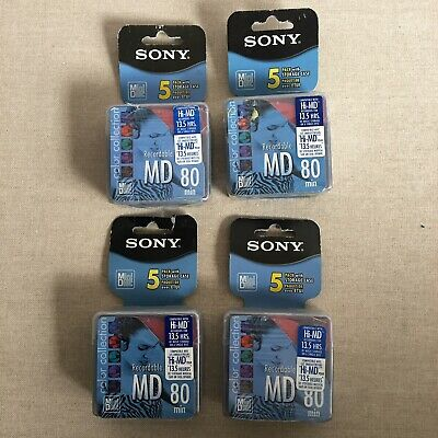 Lot Of 4-5Pk Sony Md-20 Recordable Mini Discs-80 Minutes - Color Collection-New