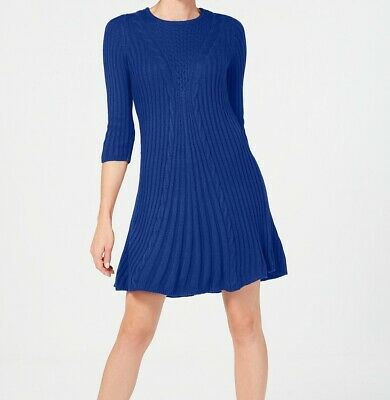 73b9ef752a0 NY Collection NEW Blue Womens Size PXS Petite Cable-Knit Sweater Dress  60  318