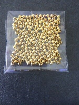 Gold 3 mm Round Metal Ball Spacer Beads 200 Pack Jewellery Making Findings