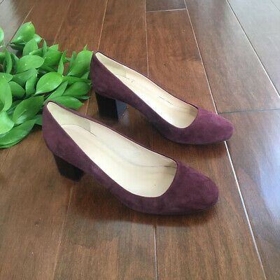 5b2ae060f7db J Crew Womens Lucite Block Heel Pumps Maroon Suede Size 8 Made in Italy  F5959