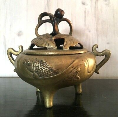 Vintage Chinese Brass Aroma Incense Burner Engraved Koi Fish