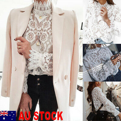 Tee Top Women Ladies Long Sleeve Shirt Hollow out Flowers Lace Chiffon Blouse AU