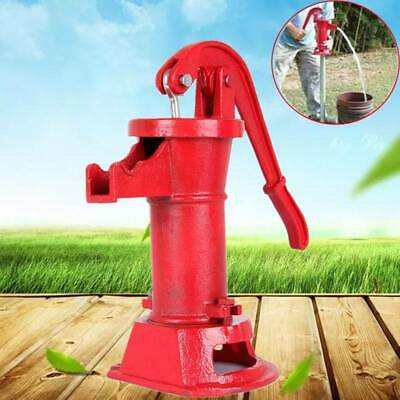 Cast Iron Well Pitcher Pump Heavy Duty Hand Water 25 feet Max Lift Shallow Red