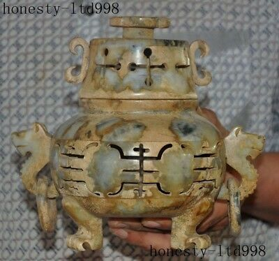 """A 8""""Rare Chinese Old Jade Pure Hand-Carved Hollow""""夀""""Dragon Incense burner Censer"""
