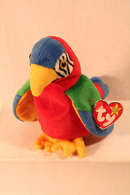970c26ef218 Ty Beanie Baby JABBER The Parrot - SUPER RARE - ERRORS - RETIRED! FREE  SHIPPING