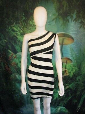 2c8a303d593 Charlotte Russe Womens Black and White Ribbed Bodycon -Shoulder-Off XS Dress  (D