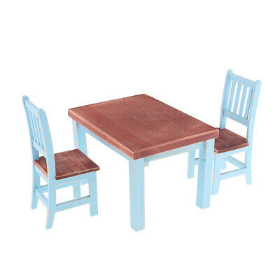 Dollhouse Miniature Dining Table Chair Set 1:12 Wooden Furniture Model Decor