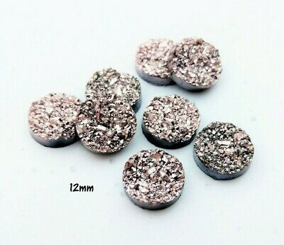10pc 12mm Champagne Pink Druzy Resin Cabochon Flat Back Cabs for Jewelry Craft