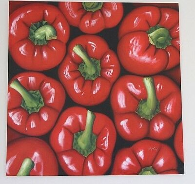 BIG original signed oil painting on canvas Peppers POP ART large artwork 88x88cm