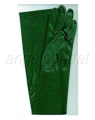 "23 "" Forest Grün Stretch Satin Cosplay Party Kostüm Oper Abend Lange Handschuhe"
