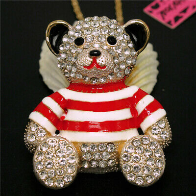 New Cute Red Enamel Crystal Big Sailor Suit Bear Betsey Johnson Pendant Necklace