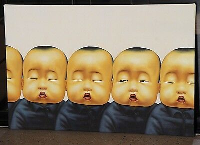 BIG original signed oil painting on canvas Chinese baby boys POP ART wall art
