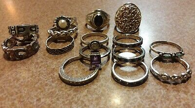 15 All 925 Sterling Silver Rings 49g Total All Sizes Wear/Re-sell Lot.