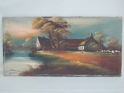 Antique Vintage Original Oil Painting on Canvas Signed by Artist