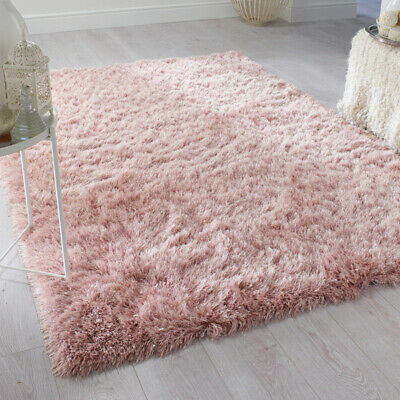 XL Thick Shaggy Floor Rug Sparkle Silky Area Mat Fluffy Soft Faux Fur Wool Rug