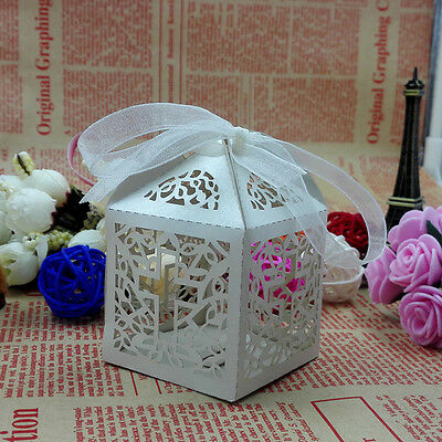 10/50/100x Cross Hollow Wedding Party Gifts Paper Favor Candy Boxes SIM