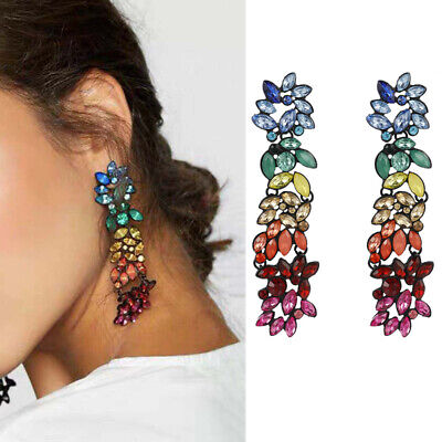 Fashion Women Colorful Rhinestone Statement Geometric Long Pendant Drop Earrings