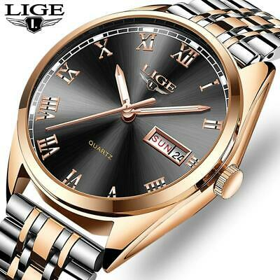2019New LIGE Wristwatches Men Top Brand Fashion Chronograph Male Stainless Steel