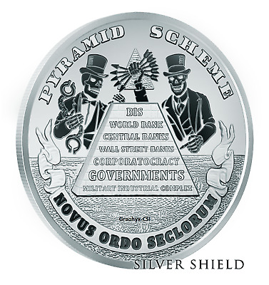 2019 1 oz Proof Death of the Dollar #19  Pyramid Scheme - Silver Shield - SSG