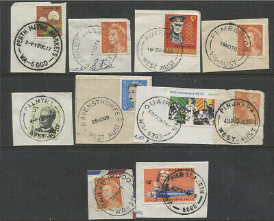 WESTERN AUSTRALIA · 10 different selected cds POSTMARKS - PARABURDOO, etc.