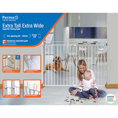 Perma Child Safety Extra Tall & Wide Superior Swing Gate 82-142cm Wide,91cm tall
