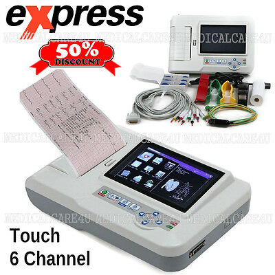 Touch ECG Machine EKG monitor 6 Channel electrocardiograph 12 Lead USB Software