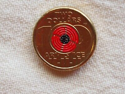 2018 Coloured $2 Remembrance Day Armistice Centenary Red Poppy