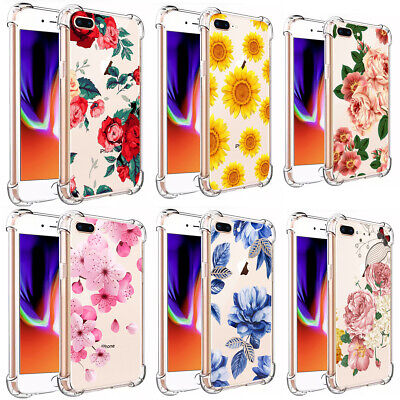 F Iphone 7 8 Plus XS Max XR Girls Love Floral Flowers Clear TPU Phone Case Cover