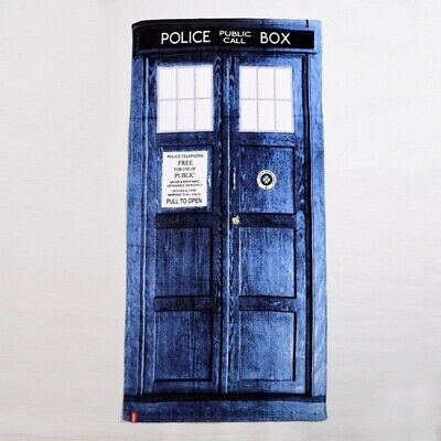 Fantasy Gifts Doctor Who Bath Towels Tardis Police Box Cotton Blue Beach Towel