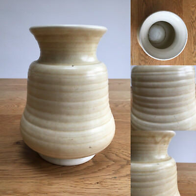 "Vintage George Clews pottery ribbed vase - 7.2"" / 18cm"