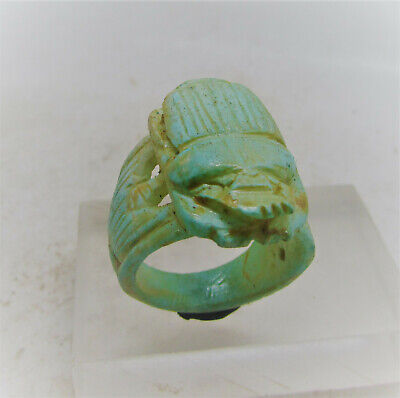Beautiful Ancient Egyptian Glazed Faience Scarab Ring