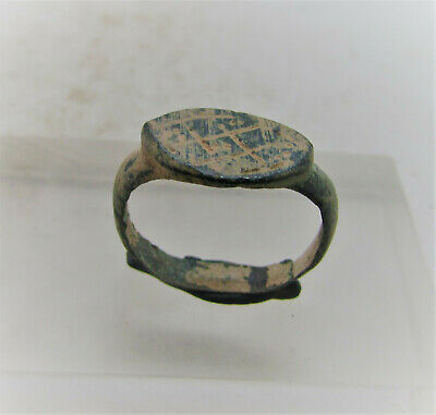 Ancient Roman Bronze Ring With Decorated Bezel Detector Finds