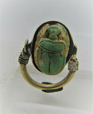 Beautiful Egyptian Gold Gilded Swivel Ring With Faience Scarab & Heiroglyphics