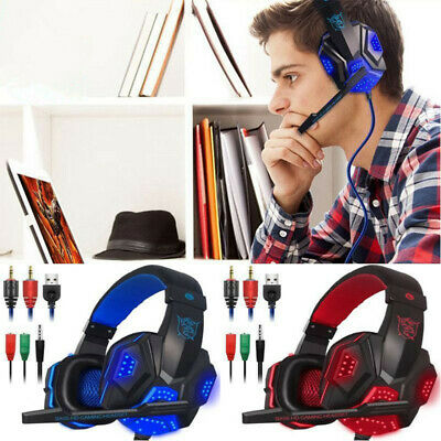Gaming Headset with Mic LED Light for Laptop Computer Cellphone PS4 Headphone
