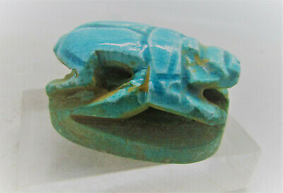 Superb Ancient Egyptian Faience Scarab Heiroglyphs