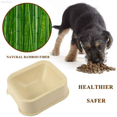 58D4 Dog Plate Food Tray Bamboo Fiber Random Color Cat Bowl Natural Plant Resin