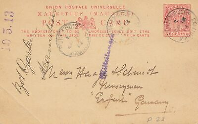 Mauritius: 1913: post card Port Louis to Erfurt/Germany