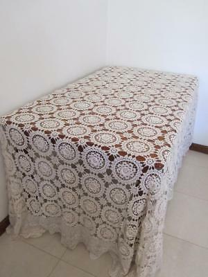 Vintage Large Heirloom CROCHET TABLECLOTH Bedspread  Overlay jc Large Motifs