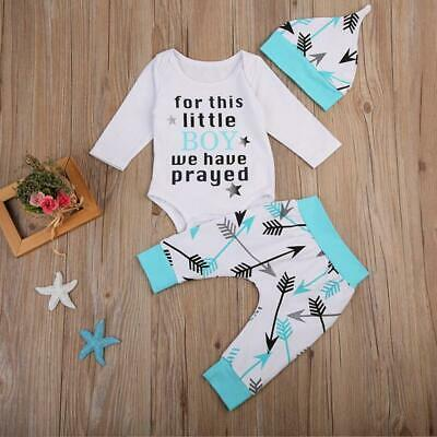 Baby Boys Tracksuit 3 Piece Set Arrow Printing Top Suit Thanksgiving Gift FW