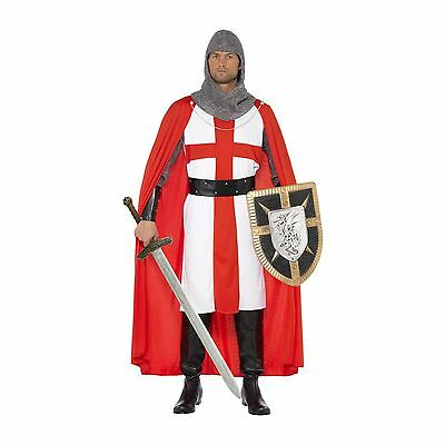 Mens Deluxe Adult Knight St George England Crusader Medieval Fancy Dress Costume
