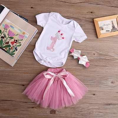 3PCS Baby Newborn Kid Girl Romper T Shirt Top+Headband+Skirt Birthday Outfit Set