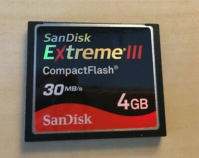 SanDisk Extreme III 3 CF Compact Flash 4GB Memory Card 30MB/s. Free postage.